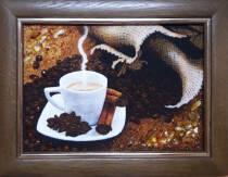 """Картина із бурштину """"Натюрморт кава"""" 15х20 см"""