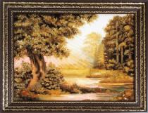 """Картина із бурштину """"Весна у лісі"""" 30х40 см"""
