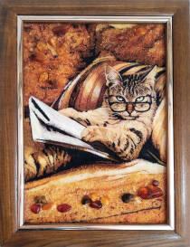 """Картина из янтаря """"Кот с газетой"""" 20х30 см"""