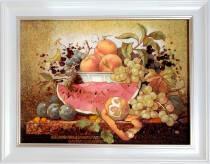 """Картина із бурштину """"Фруктовий натюрморт"""" 30х40 см"""