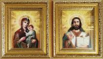 """Венчальные иконы из янтаря """"Иверская пара"""" 15 х 20 в стекле"""