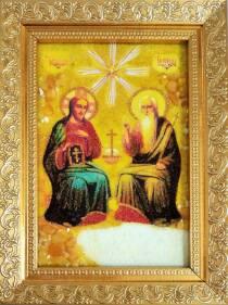 """Ікона """"Свята Трійця"""" з бурштину 10х15 см без скла"""
