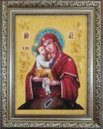 Ікона Почаївської Божої Матері з бурштину 15х20 см без скла