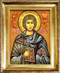 """Іменна ікона із бурштину """"Святий Валерій"""" 15х20 см без скла"""
