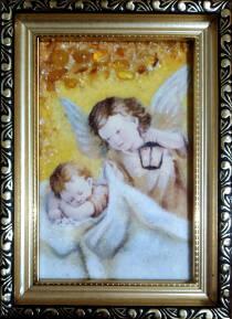 """Бурштинова ікона в дитячу кімнату """"Янгол з ліхтариком"""" 10х15 см без скла"""