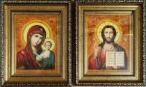 """Венчальная икона из янтаря """"Казанская пара"""" 15х20 см в стекле"""