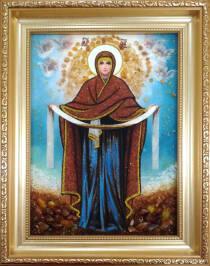 Ікона Божої Матері Покрова з буштину 20х30 см без скла