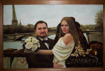 Бурштиновий портрет закоханої пари