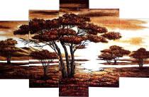 """Модульна картина із бурштину """"Савана"""" (5 частин) без рамки 160х80 см"""