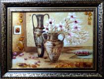 """Картина із бурштину """"Натюрморт ваза"""" 30х40 см"""