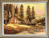 """Картина із бурштину """"Хатинка"""" 30х40 см"""
