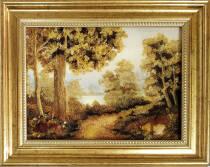 """Бурштинова картина """"Осінній ліс"""" 20х30 см"""