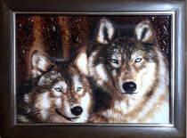 """Картина из янтаря """"Волки"""" 20х30 см"""