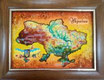 Карта України з бурштину 20х30 см