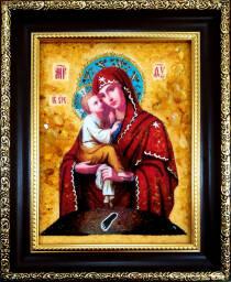 """Ікона із бурштину """"Почаївська Божа Матір"""" 15х20 см  без скла"""