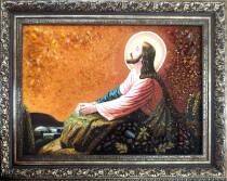 """Бурштинова ікона """"Ісус на оливковій горі"""" 30х40 см без скла"""