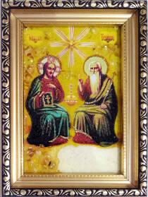 """Ікона із бурштину """"Трійця"""" 10х15 см без скла"""