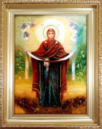 """Ікона із бурштину """"Покрова Пресвятої богородиці"""" 20х30 см без скла"""