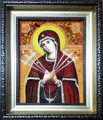 Семистрельная икона из янтаря 15х20 см без стекла