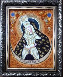 Икона Остробрамской Божьей Матери из янтаря 15х20 см без стекла