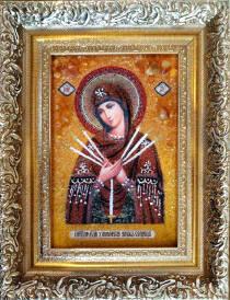 Семистрельная икона из янтаря 10х15 см без стекла