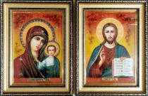 """Свадебные иконы из янтаря """"Казанская пара"""" 20х30 см в стекле"""