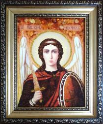 Ікона Архангела Михаїла (Михайло) з бурштину 15 х 20 см без скла