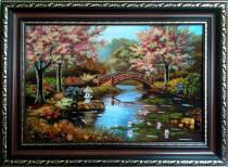 """Картина із бурштину """"Місток і сакури"""" 40х60 см"""