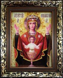Икона из янтаря «Чаша Неупиваемая» 15х20 см без стекла