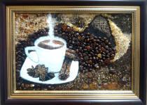 "Картина из янтаря ""Кофе"" 20х30 см"
