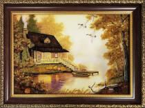 """Картина із бурштину """"Будиночок і човен"""" 20х30 см"""