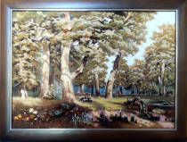 "Картина из янтаря ""Дубовая роща"" 60х80 см"