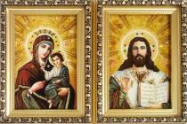 """Иконы из янтаря """"Иверская пара"""" 10 х 15 см без стекла"""