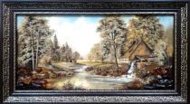 """Картина из янтаря """"Водяная мельница"""" 30x60 см"""