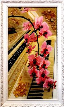 """Картина из янтаря """"Орхидея на фортепиано"""" 30х60 см"""