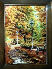 """Картина з бурштину """"Алея у парку"""" 30х40 см"""