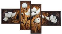 """Модульна картина із бурштину """"Магнолія"""" (4 частини) 125х70 см"""
