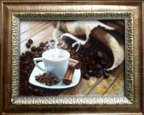 "Картина из янтаря ""Натюрморт кофе"" 15х20 см"