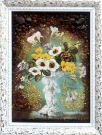 """Натюрморт із бурштину """"Квіткова композиція"""""""