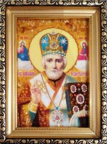 """Ікона із бурштину """"Святий Миколай"""" 10х15 см без скла"""
