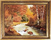 """Картина из янтаря """"Горная река"""" 30x40 см"""