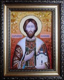 """Ікона із бурштину """"Святий Роман"""" 15х20 см"""