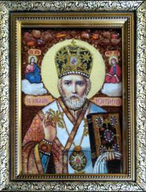 """Ікона із бурштину """"Святий Миколай"""" 20х30 см без скла"""