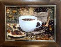 "3-D картина из янтаря ""Кофе"" 20х30 см"