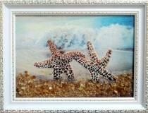 "Картина из янтаря ""Морские звезды"" 15х20 см"