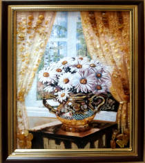 "Картина із бурштину ""Натюрморт ромашки"" 30х40 см"