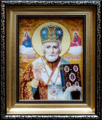 """Ікона із бурштину """"Святий Миколай"""" 15х20 см без скла"""