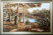 "Картина из янтаря ""Лесное озеро"" 100х60 см"