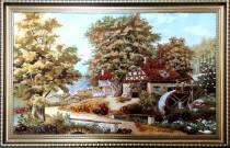 """Картина из янтаря """"Современный домик"""" 100х60 см"""
