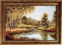 """Картина из янтаря """"Река в лесу"""" 30x40 см"""